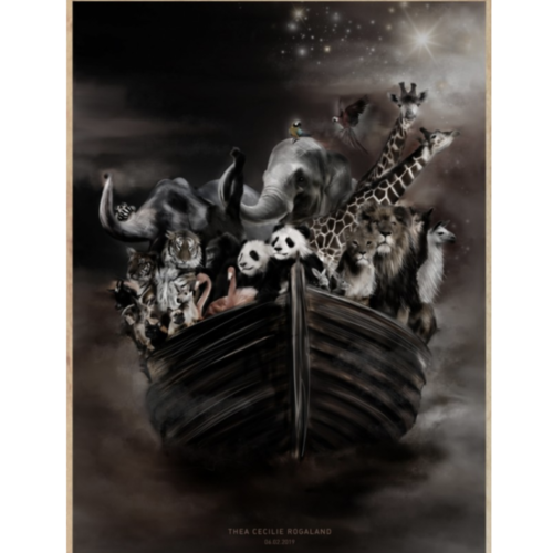Dark coloured nursery wall print with different animals in the ark
