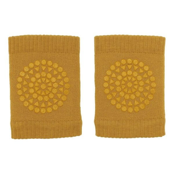 Baby crawling traction knee pads in soft mustard colour