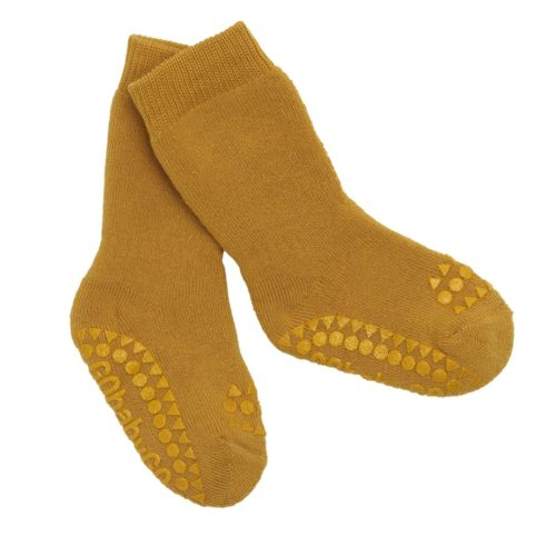 Mustard coloured non slip traction organic cotton socks