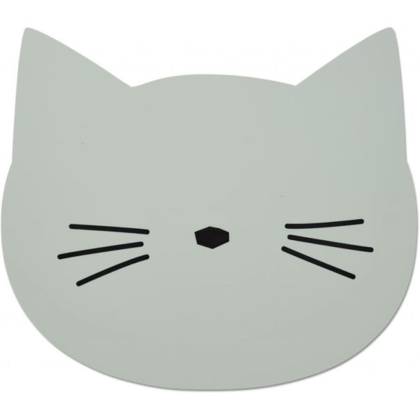 Kids silicone placemat in a shape of a cat with black whiskers drawn on it