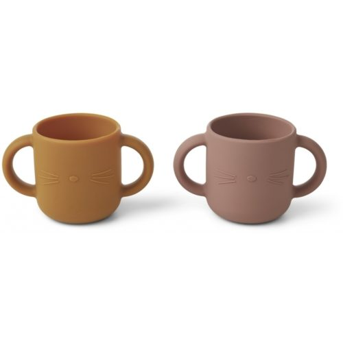 Two baby silicone drinking cups with two handles in mustard and rose