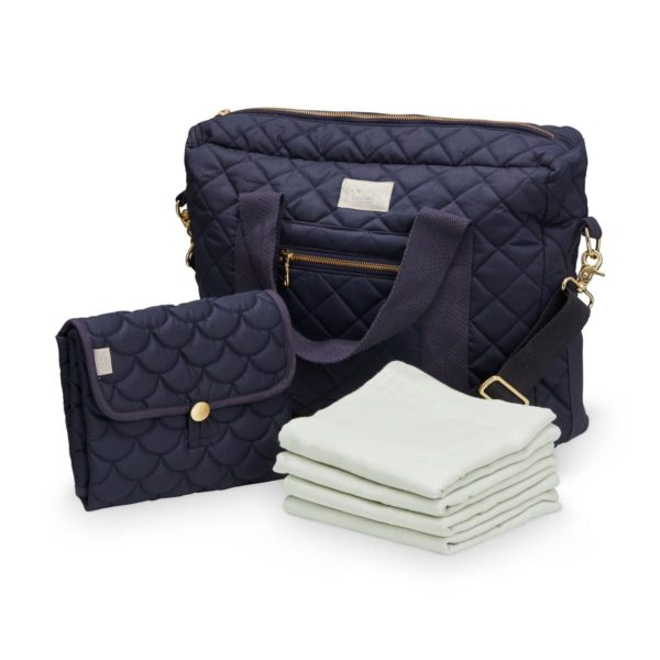 Nappy bag value pack with a navy travel change mat, organic muslins and a nappy bag