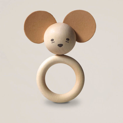 Natural wood and leather baby teether in a mouse shape by Garbo and Friends
