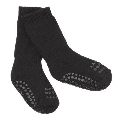 baby organic cotton non-slip traction socks in a black colour