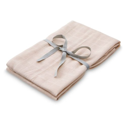 Light pink baby orhanic cotton swaddle with dainty grey bow and ribbon around it