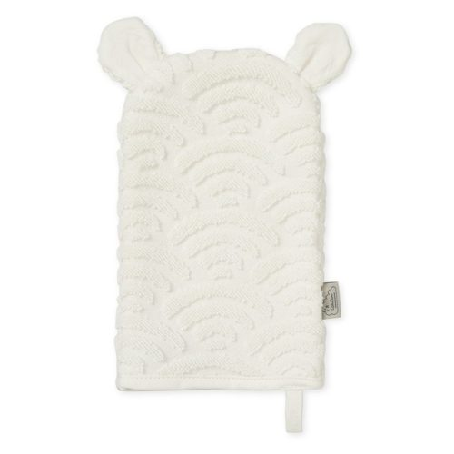white baby wash glove in organic cotton with little ears