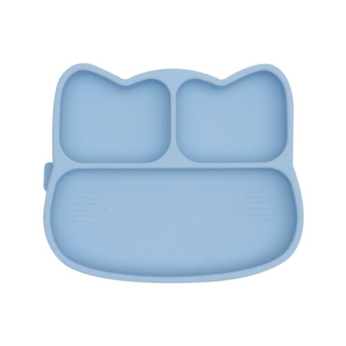Cat shaped silicone plate for babies. Powder blue colour