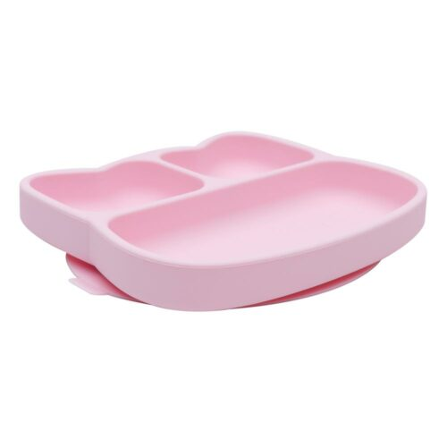 Cat shaped powder pink silicone baby plate
