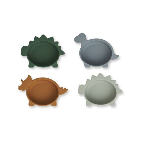 Blue Mix Dinosaur Shaped Silicone Baby Bowl