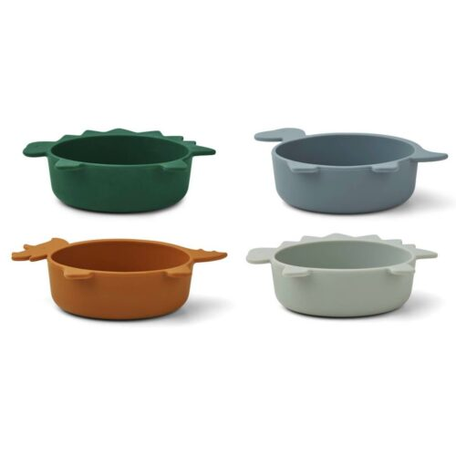 Blue Multi Mix Dinosaur Shaped Silicone Bowls