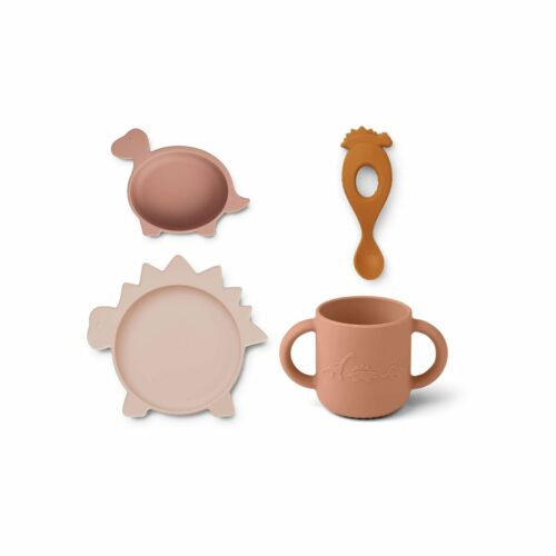 Rose Mix Dinosaur Shaped Silicone Tableware